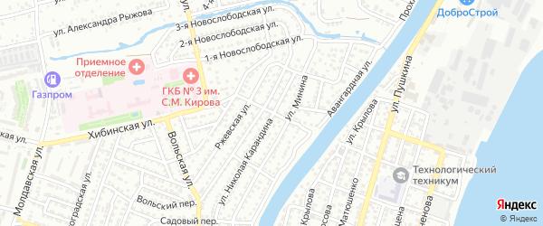Речной переулок на карте Астрахани с номерами домов