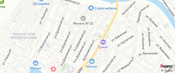 Дорожная 6-я улица на карте Астрахани с номерами домов