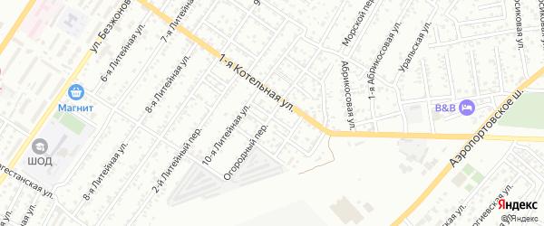 Огородный переулок на карте Астрахани с номерами домов
