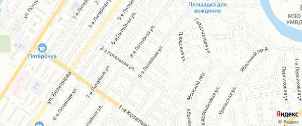 Вязовский 6-й переулок на карте Астрахани с номерами домов