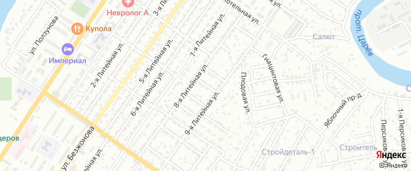 Вязовский 4-й переулок на карте Астрахани с номерами домов