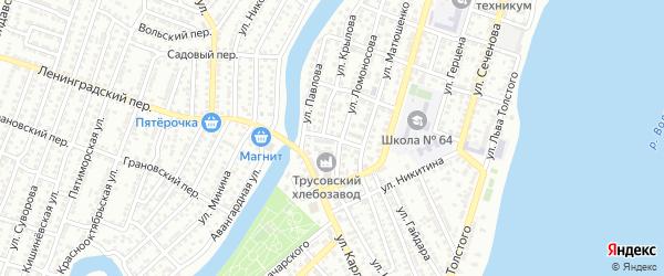Бородинский переулок на карте Астрахани с номерами домов