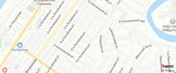 Вязовский 3-й переулок на карте Астрахани с номерами домов