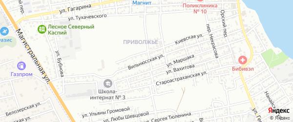 Вильнюсская улица на карте Астрахани с номерами домов