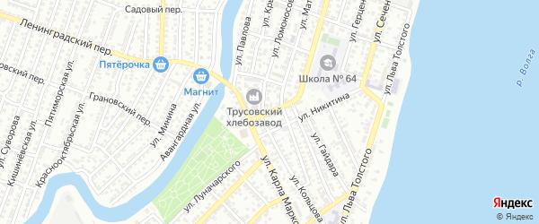 Переулок Пожарского на карте Астрахани с номерами домов