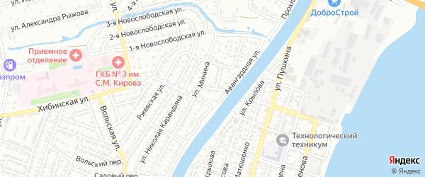 Валовый переулок на карте Астрахани с номерами домов