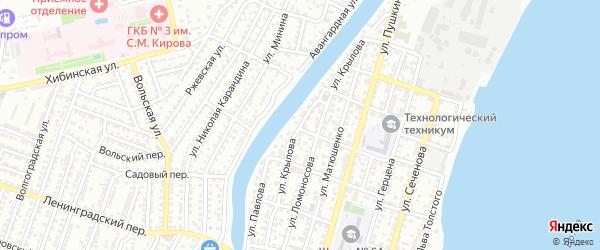 Улица Крылова на карте Астрахани с номерами домов