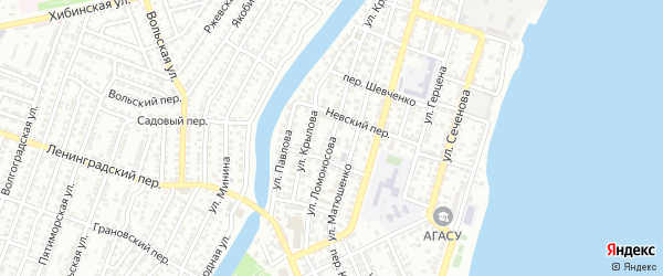 Улица Ломоносова на карте Астрахани с номерами домов