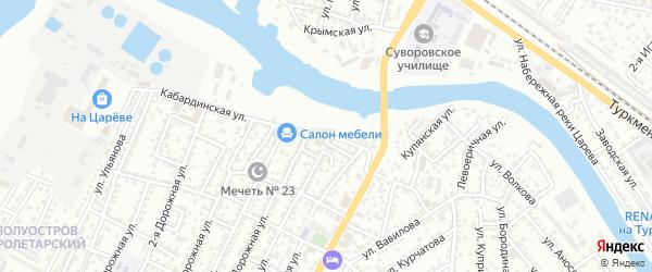 Кабардинская улица на карте Астрахани с номерами домов
