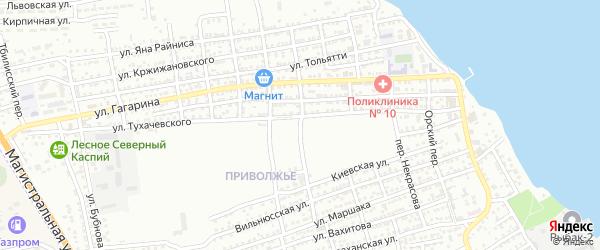 Переулок Ломоносова на карте Астрахани с номерами домов