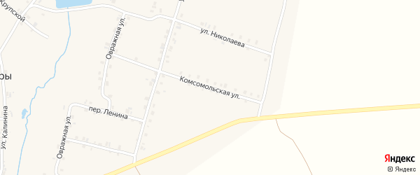 Комсомольская улица на карте деревни Старые Урмары с номерами домов