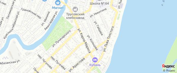 Улица Кольцова на карте Астрахани с номерами домов