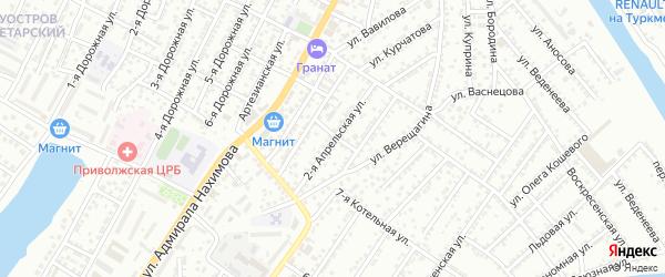 Апрельская 2-я улица на карте Астрахани с номерами домов