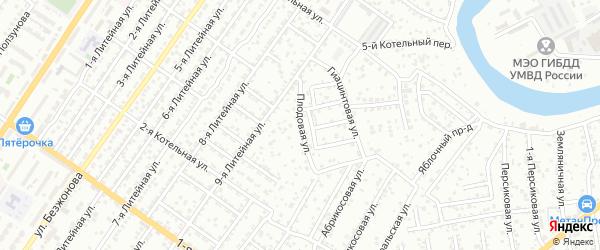 Плодовая улица на карте Астрахани с номерами домов
