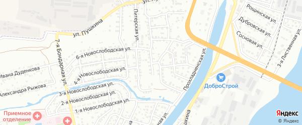 Бондарная 1-я улица на карте Астрахани с номерами домов