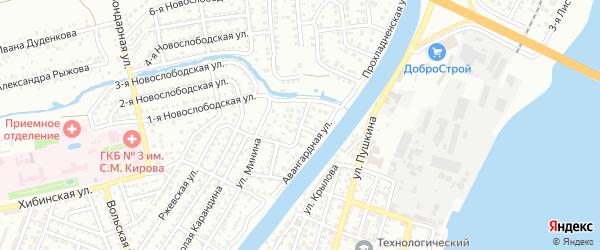 Гражданский переулок на карте Астрахани с номерами домов