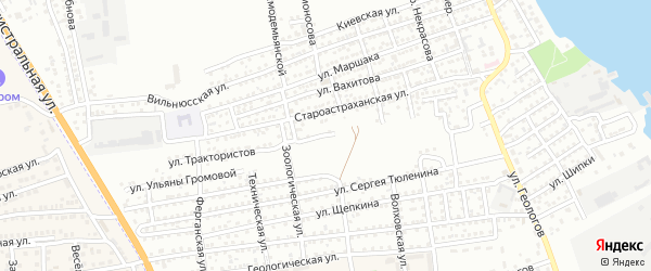 Улица Трактористов на карте Астрахани с номерами домов