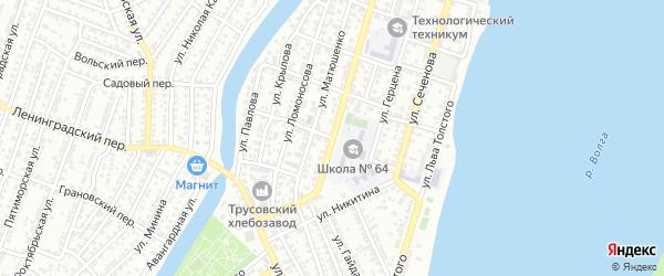 Шахтерский переулок на карте Астрахани с номерами домов