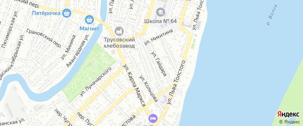 Улица Демьяна Бедного на карте Астрахани с номерами домов