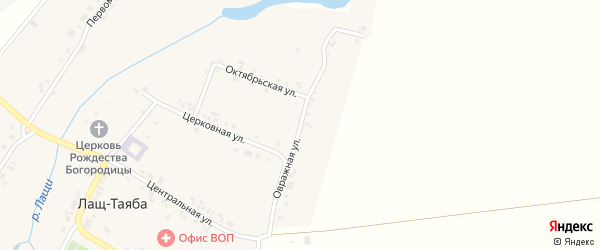 Овражная улица на карте села Лаща-Таяба с номерами домов