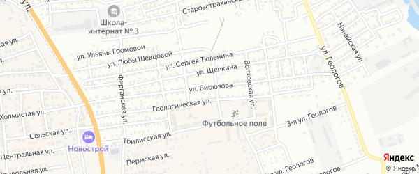Улица Бирюзова на карте Астрахани с номерами домов