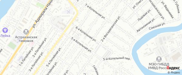 Котельная 6-я улица на карте Астрахани с номерами домов