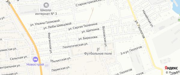 Калачевский переулок на карте Астрахани с номерами домов
