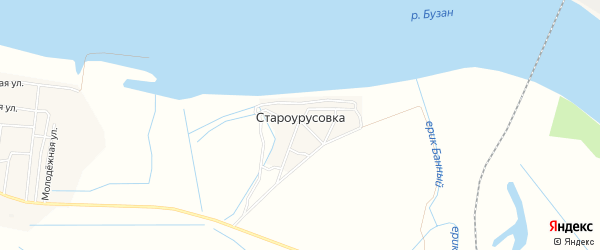 Карта села Староурусовки в Астраханской области с улицами и номерами домов