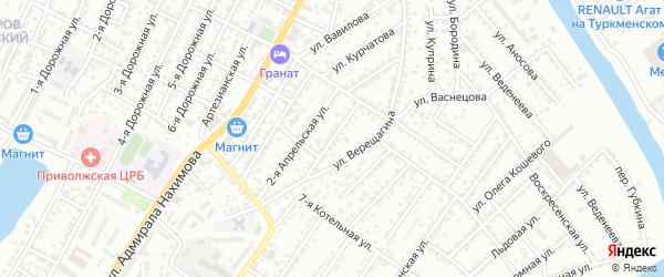 Апрельская улица на карте Астрахани с номерами домов
