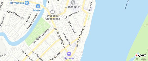 Улица Гайдара на карте Астрахани с номерами домов