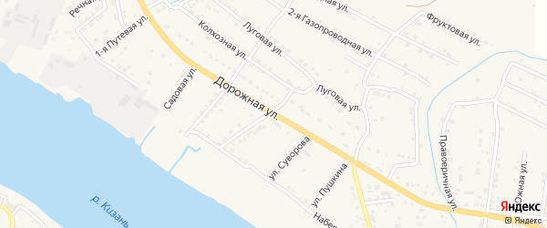 Дорожная улица на карте села Три Протоки с номерами домов