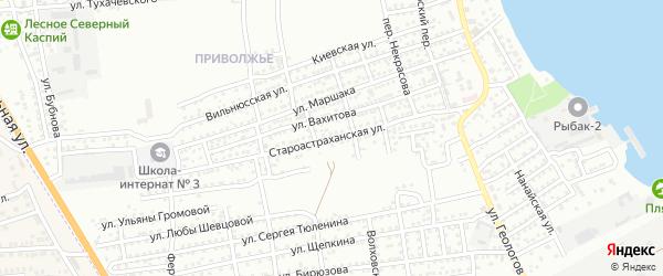 Староастраханская улица на карте Астрахани с номерами домов