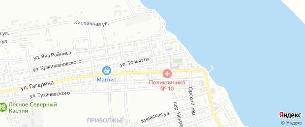 Улица Вильгельма Пика на карте Астрахани с номерами домов