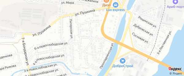 Знаменский 1-й переулок на карте Астрахани с номерами домов