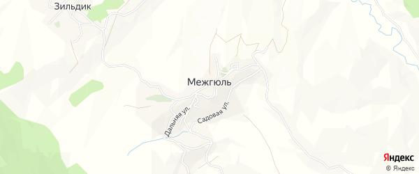 Карта села Межгюля в Дагестане с улицами и номерами домов