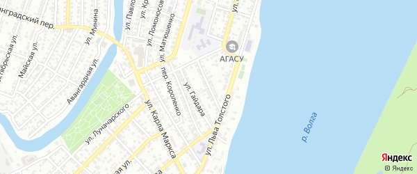 Улица Некрасова на карте Астрахани с номерами домов