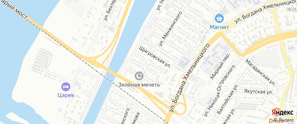 Кутаисская улица на карте Астрахани с номерами домов