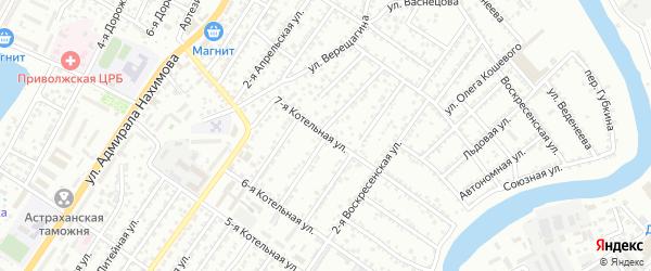 Воскресенская 4-я улица на карте Астрахани с номерами домов