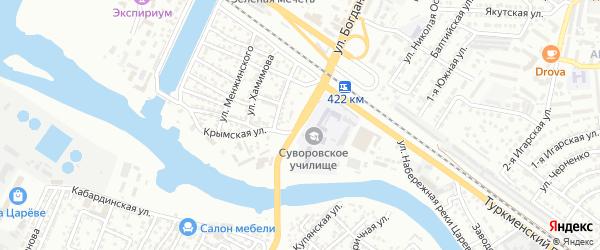 Контрольная 1-я улица на карте Астрахани с номерами домов