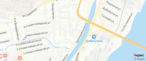 Розовая улица на карте Астрахани с номерами домов
