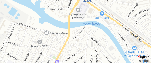 Ковельский переулок на карте Астрахани с номерами домов