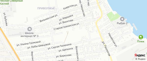 Волховская улица на карте Астрахани с номерами домов