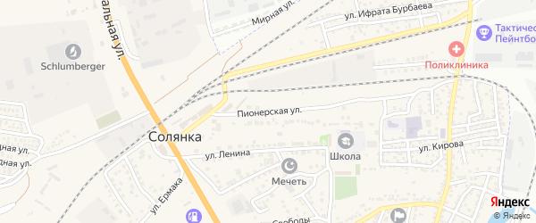 Пионерская улица на карте села Солянки с номерами домов