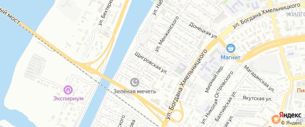 Щигровская улица на карте Астрахани с номерами домов
