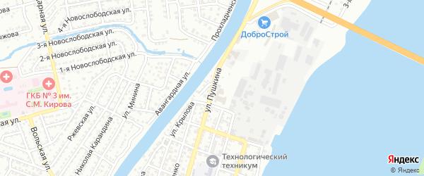 Улица Пушкина на карте Астрахани с номерами домов