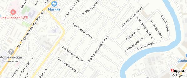 Воскресенская 3-я улица на карте Астрахани с номерами домов