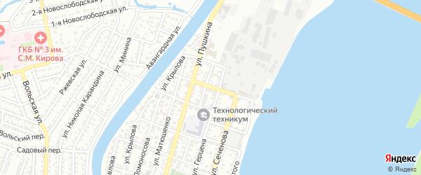 Переулок Гаршина на карте Астрахани с номерами домов