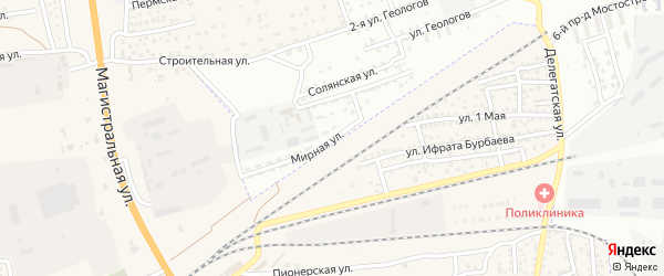 Мирная улица на карте Астрахани с номерами домов