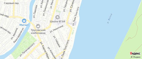 Улица Льва Толстого на карте Астрахани с номерами домов