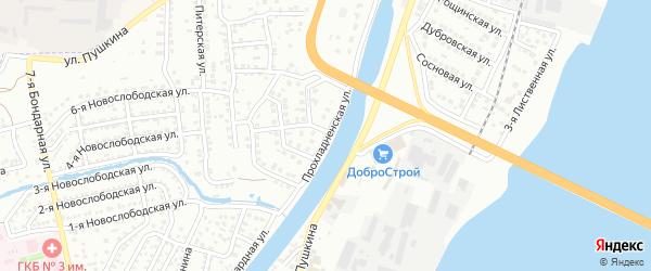 Прохладненская улица на карте Астрахани с номерами домов